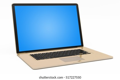 Modern digital gold and black laptop with blue screen 3D rendering