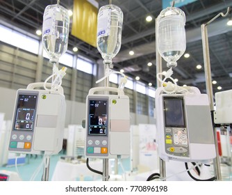 modern digital infusion pump for medical purposes in a line