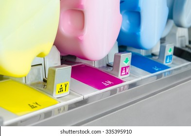 modern digital printing press, concept, closeup of the toner cartridges