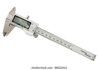 Modern digital slide caliper, display 0 mm