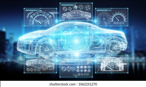 Modern digital smart car interface isolated opn blue background 3D rendering