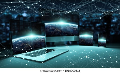 Modern digital tech device connected to each other in dark background 3D rendering