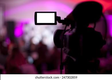 Modern Digital Video Camera on studio