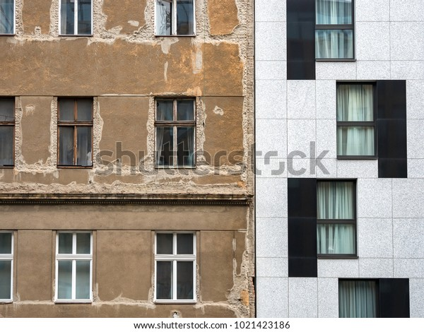 Modern and Dilapidated Abandoned House Side by Side, Border Between Old and New