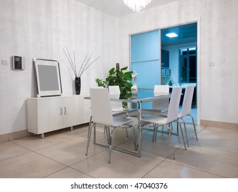 the modern dining room interior