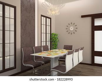 Modern dining room interior 3D