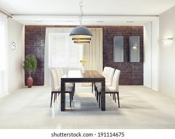 modern dining room interior. 3d concept