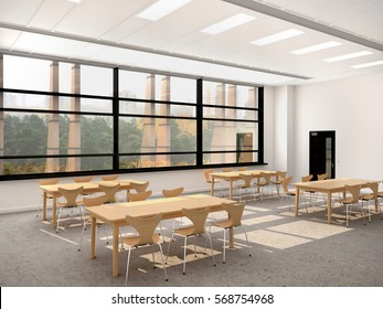 Modern dining room with a large window. Wooden tables and chairs. 3d illustration