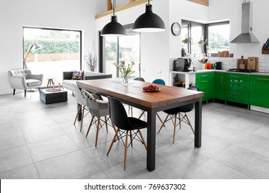 Modern dining room with dining table.