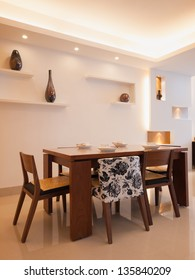 modern dining room with dining table and chairs