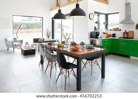 Modern Dining Room With Table Scandinavian Interior