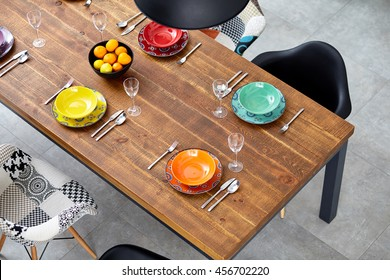 Modern dining room with dining table.  Small depth of field