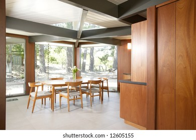 A modern dinning room that has been remodeled