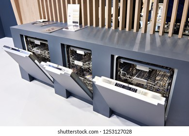 Modern dishwashers on display at the store