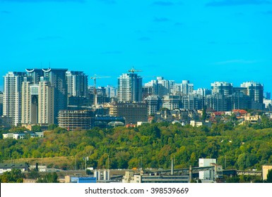 Modern district with many apartment buildings in Kiev - the capital of Ukraine