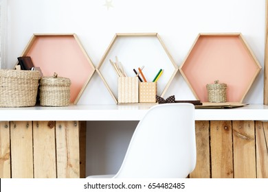 Modern DIY desk made of wooden boxes in bright color