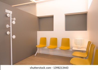 Modern doctors waiting room with yellow chairs and copy space.