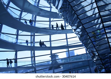 Modern dome of Reichstag in Berlin. Reichstag is Germany's parliament building