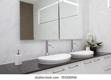 Modern double bathroom interior