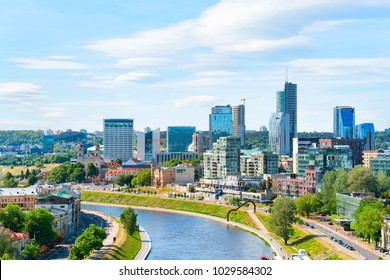 Modern downtown and the Neris river in Vilnius city center, Lithuania