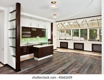 Modern drawing room (studio) and Kitchen interior with dark wooden floor, corner wide angle view