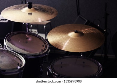 Modern drum set and cymbals in recording studio