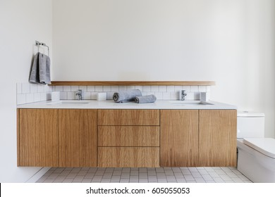 Modern dual sink bathroom for two people
