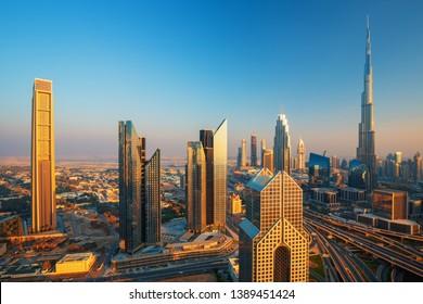 Modern Dubai city center skyline at the sunset, Dubai, United Arab Emirates