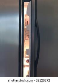A modern duel stainless steel kitchen fridge
