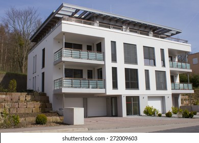 Modern dwelling houses with balconies in Germany
