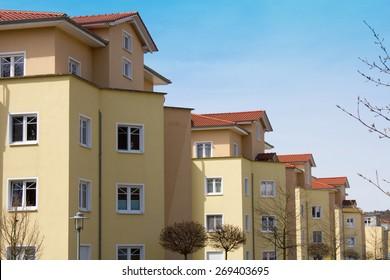 Modern dwelling houses with balconies in Goettingen, Germany