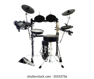 Modern electric drum set isolated on white.