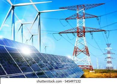 Modern electric grid lines and renewable energy concept with photovoltaic panels and wind turbines