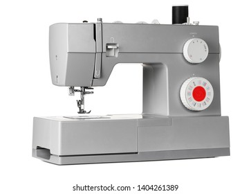 Modern electric sewing machine isolated on white background