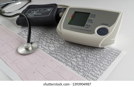 modern electric tonometer and a stethoscope on a cardiogram chart. household blood pressure monitor