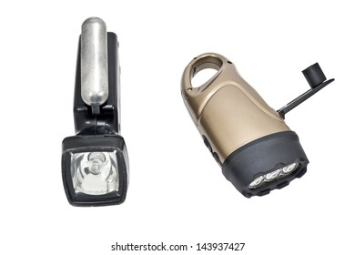 Modern electric torchs on white background