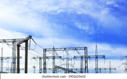 Modern electrical substation outdoors on sunny day