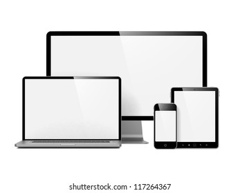 Modern Electronic Devices with Blank Screens. Isolated on White.