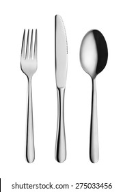 Modern, elegant fork, spoon and knife isolated on white with clipping path
