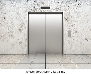 modern elevator with closed doors, 3d render