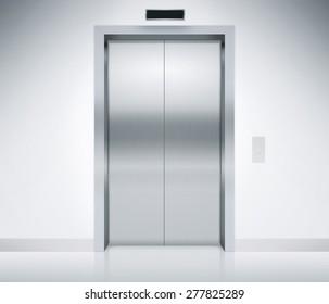 Modern elevator or lift doors made of metal closed in building with lighting. & Elevator Doors Images Stock Photos u0026 Vectors | Shutterstock