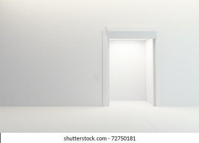modern elevator with open doors, 3d render