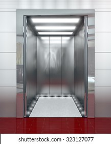 Modern elevator with opened door - 3d illustration
