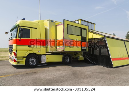 Modern emergency ambulance truck