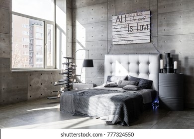 Modern empty bedroom in loft style with grey colors and wooden hand made Christmas tree with presents.
