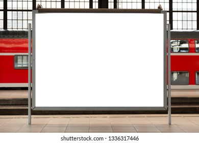 Modern empty blank advertising billboard at a railroad station. Mockup for your advertising project.