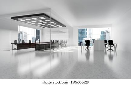 Modernes, leeres und elegantes Büro mit Fenstern und Arbeitsplätzen. Gemischte Medien