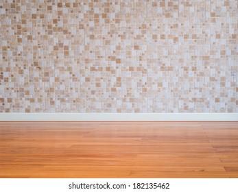 Modern empty  interior mosaic wall with wooden parquet  floor