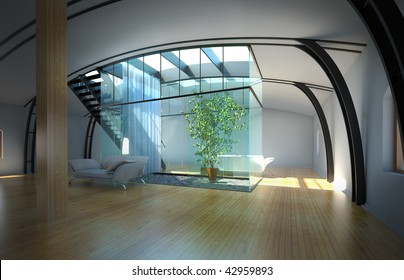 Modern empty interior with white walls, sunlight and plant
