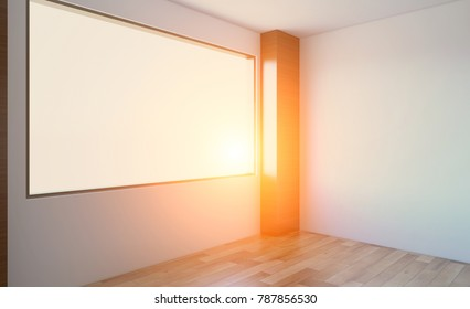Modern Empty  office Cabinet. Meeting room. 3D rendering. Sunset.